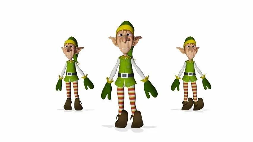 3 Santa Helper Cartoon Xmas Dance Stock Footage Video