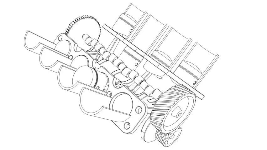 Cartoon Outline of Internal Combustion Stock Footage Video