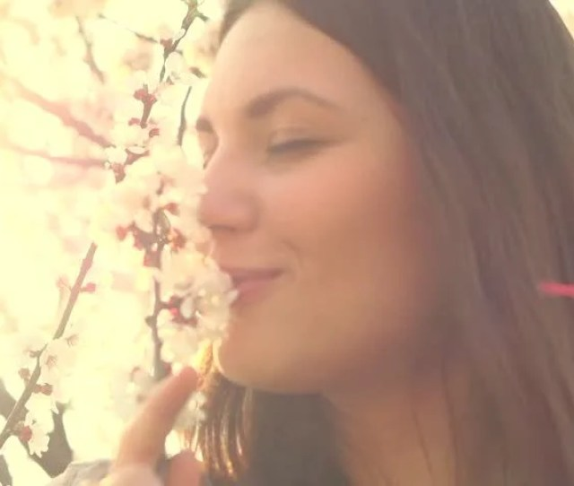 Beauty Spring Romantic Woman Smelling Flowers Sensual Beauty Lady Slow Motion 240 Fps High Speed Camera Full Hd 1080p