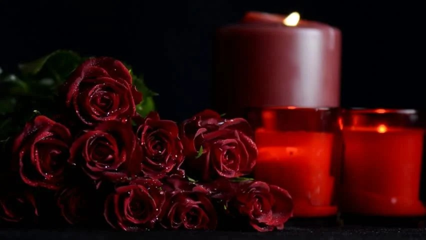 Happy Flower Wallpaper Quotes For Desktop Red Roses Close Up With Burning Candles On Black
