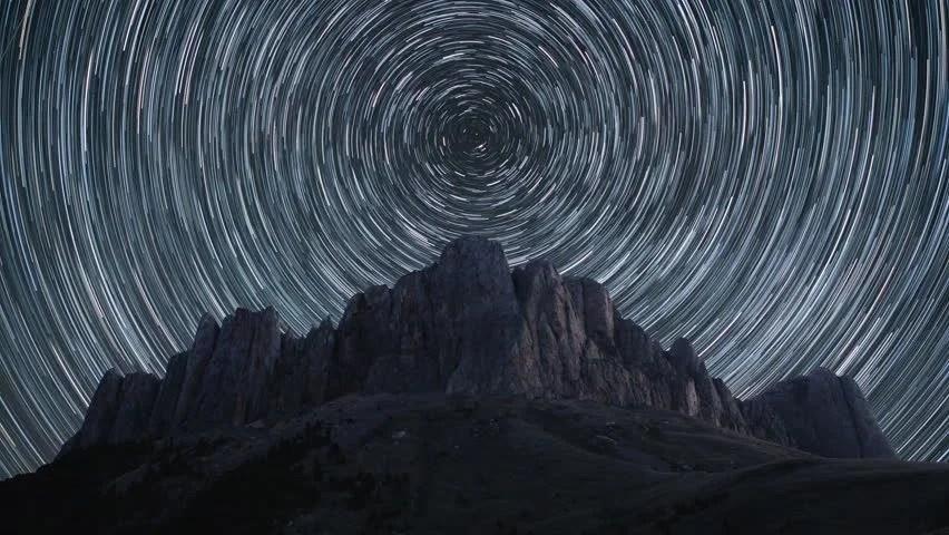 Stars Desktop Wallpaper Hd Star Trails Over The Rocky Landscape Image Free Stock