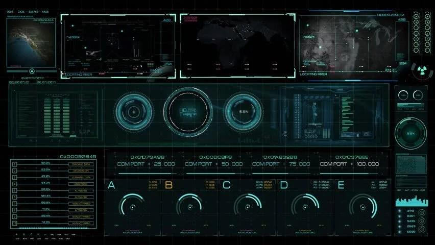 Futuristic Multi Screen Gadget Panel Stock Footage Video