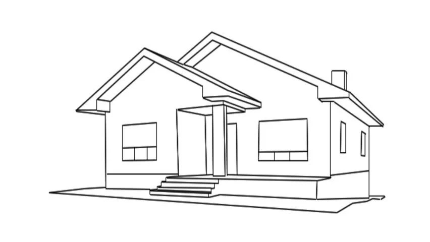 Drawing of a House for Stock Footage Video (100% Royalty
