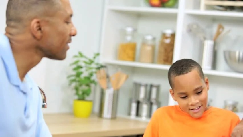 Working Healthy African Out American Family