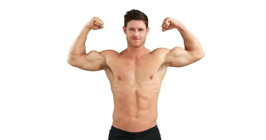 muscular man flexing his