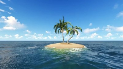 Lonely Island.3d Animation.coconut or Palm Stock Footage ...