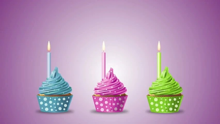 Cute Animated Cupcake Wallpaper Happy Birthday With Cupcakes And Candles On A Blue