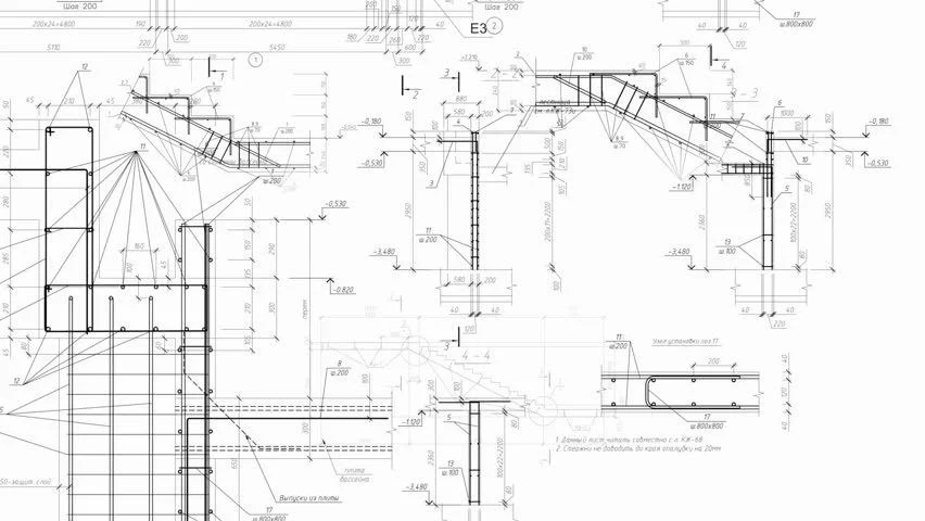 Construction Drawings Background. Loop Stock Footage Video