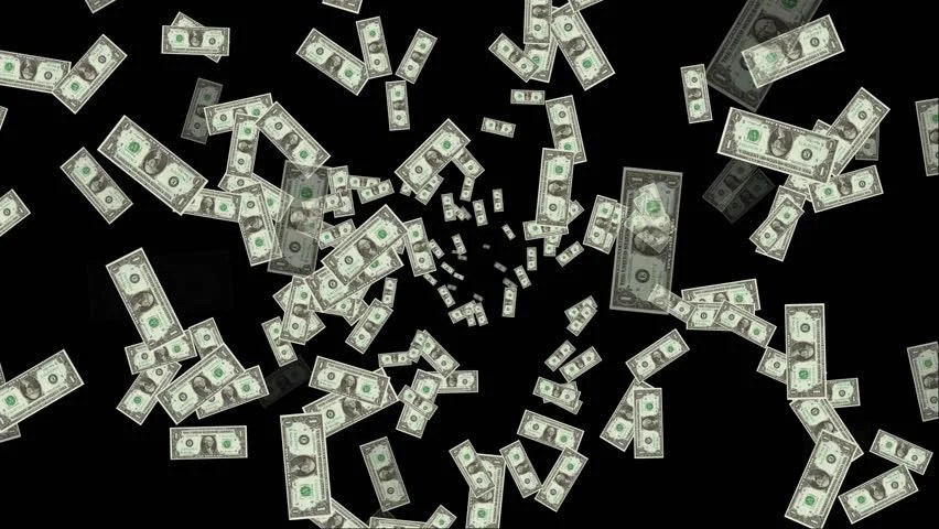 Falling Money 3d Live Wallpaper Money Rain 3d Animation With Alpha Matte Stock Footage