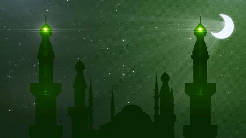 Mosque And Leaves Composite Silhouette With Islamic