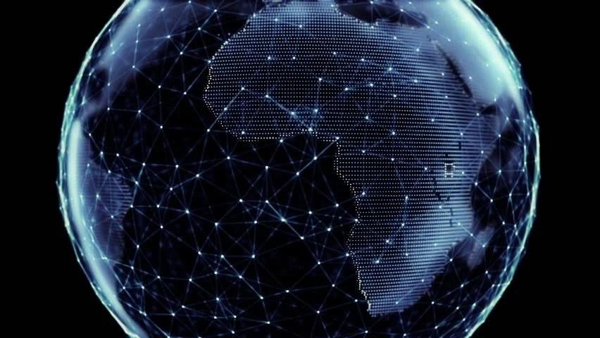 Animated Lightning Wallpaper Global Network Digital World Globe Stock Footage Video