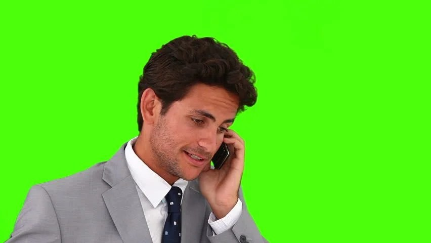 Chromakey Footage Of A Casual Man In Shirt Listening To ...