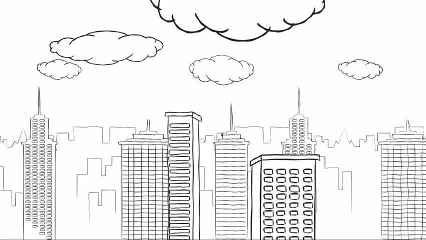 Doodle Buildings Loop White Background Stock Footage Video