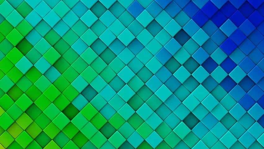 Stock video of blue and green gradient of rhombs
