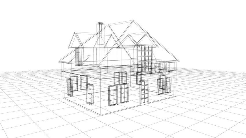 House Blueprint Sketch On Blue Graph Paper Animation Stock