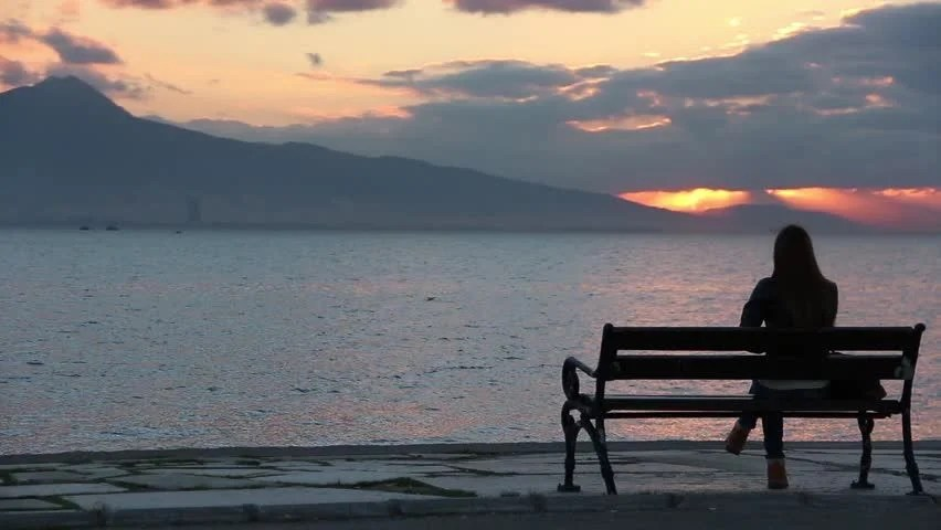 Very Sad Alone Girl Hd Wallpaper Young Man Sitting Alone On The Bench On The Beach Stock