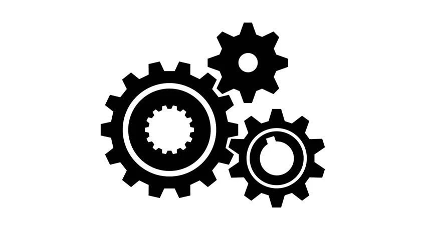 Silhouette Gears On A White Background Stock Footage Video