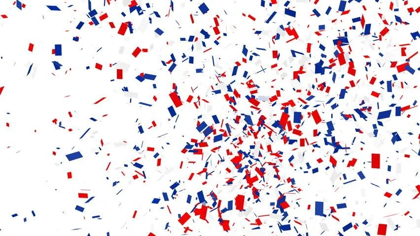 confetti shots. red blue and white