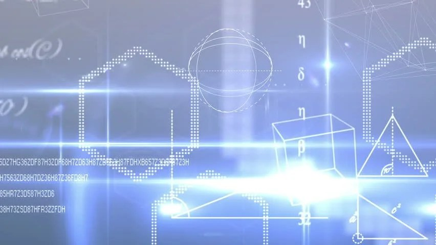 Digital Animation Of Math Equations And Shapes On Blue