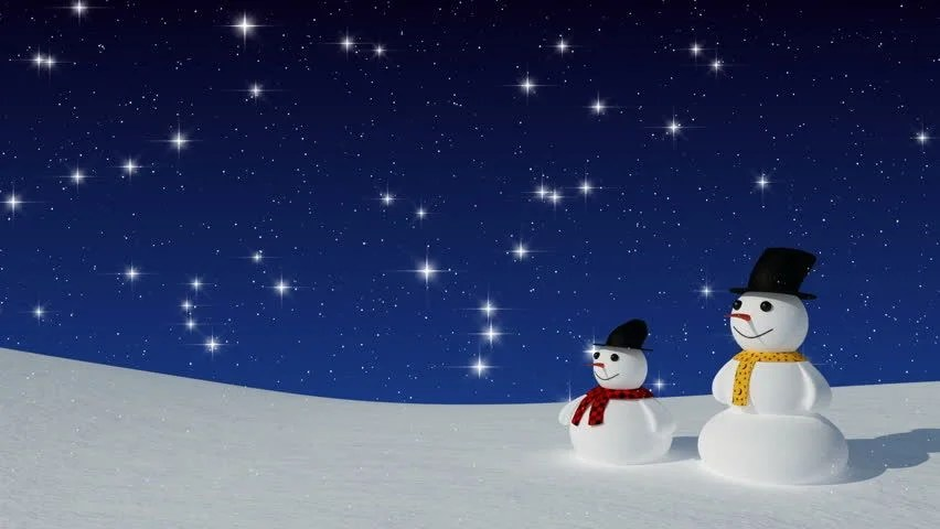 Falling Snow Wallpaper Widescreen Two Snowman In A Snowfield Under A Shimmery Star Filled