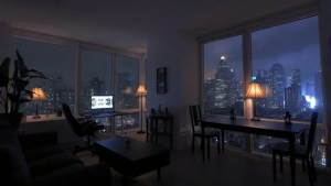 night living urban lifestyle 4k working shutterstock studio apartment rise person loft skyline lights