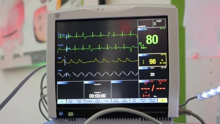 Ecg Monitor Patients Condition In Operating Roomclose Up