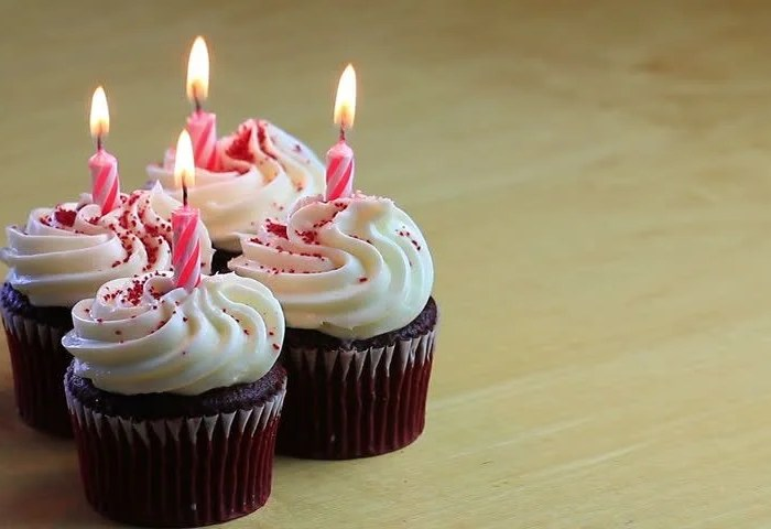 Four Chocolate Birthday Cupcakes With Stock Footage Video 100