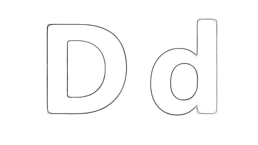 Stock Video Clip of Art hand drawing sketch letter D with