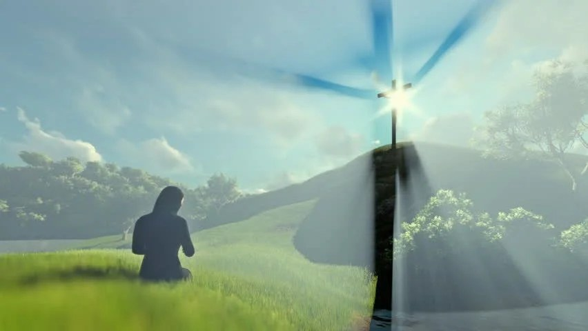Holy Cross 3d Wallpaper 3d Animation Woman Praying At Jesus Cross Over Beautiful