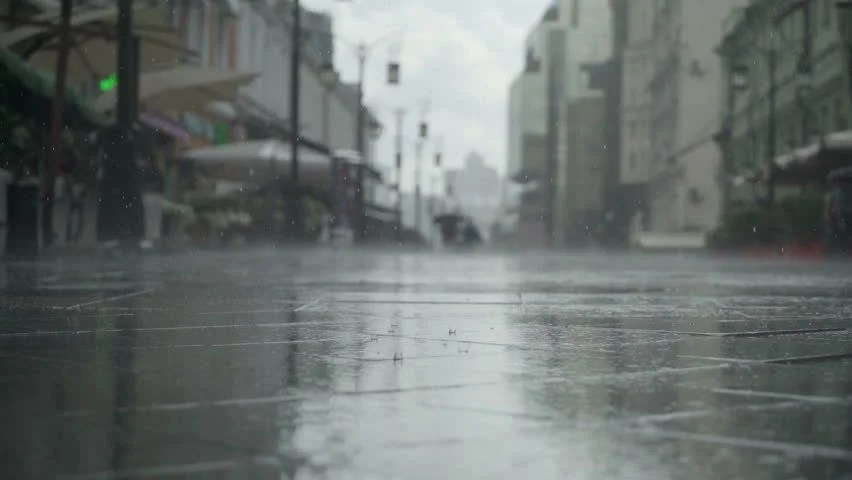 Background Of Rainy Day On City Street Real Time People