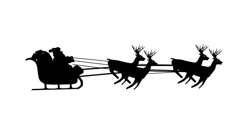 Christmas Santa Reindeer In Black Over White Background