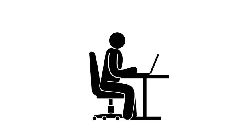 Pictogram Man Sits at a Stock Footage Video (100% Royalty