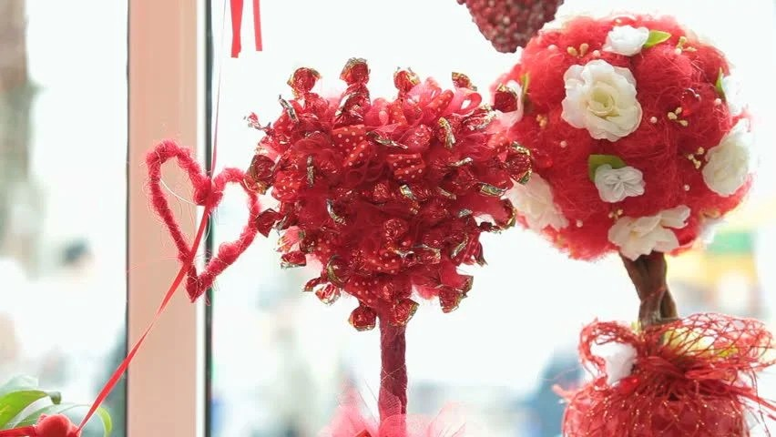 Valentines Day Window Display Decoration Stock Footage