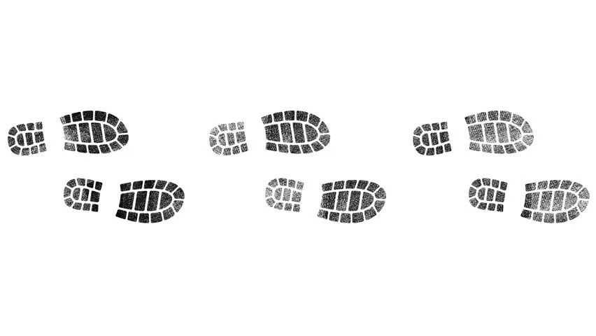 Black Shoe Print Trail, Different Stock Footage Video (100