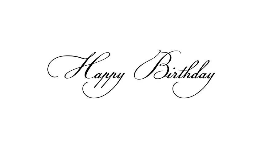 Stock video of happy birthday calligraphy text animation