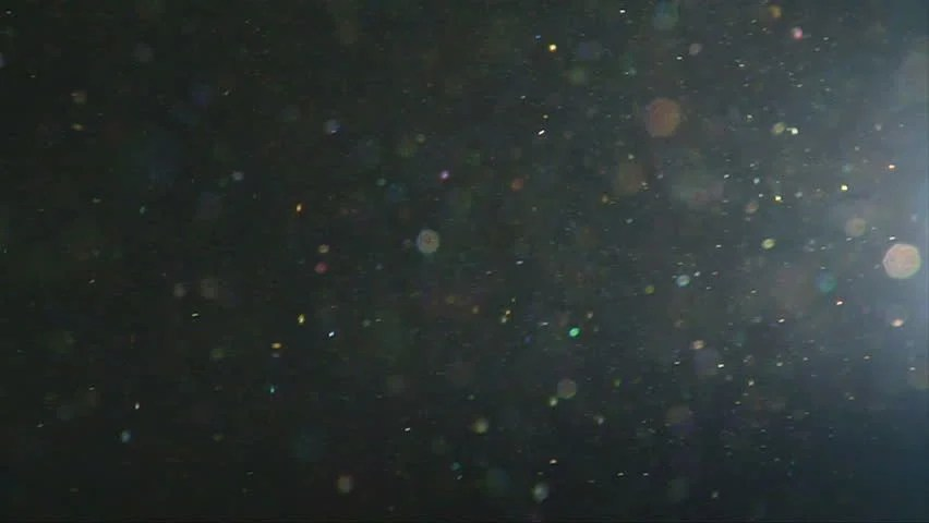 Dust Particles Floating In The Air Against Dark Background