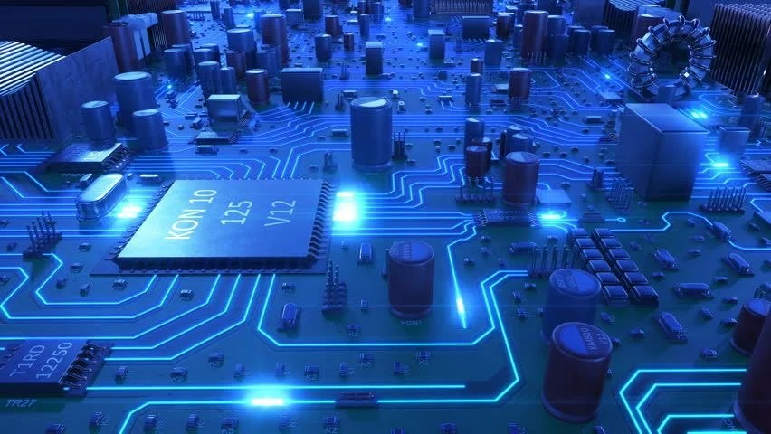 Blue Circuit Board With Electrons Hd Loop Videos 10817507 Hd Stock