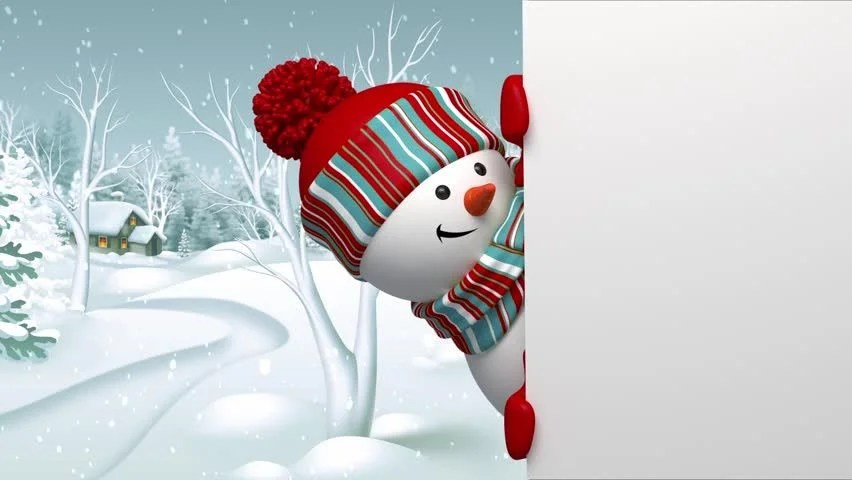 Snowman Looking Out The Wall Christmas Greeting Card