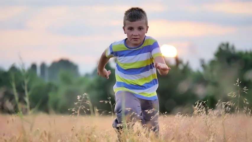 Cute Child Wallpaper For Mobile Young Boy Running Sunset Beautiful Stock Footage Video