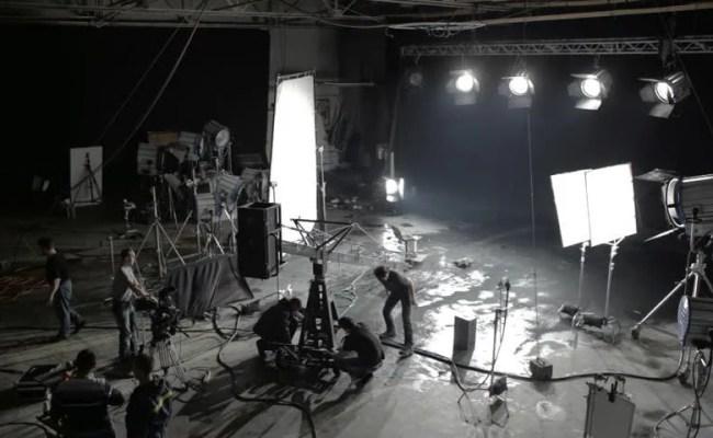 Television Studio Reflectors Lights Shining Stock Footage