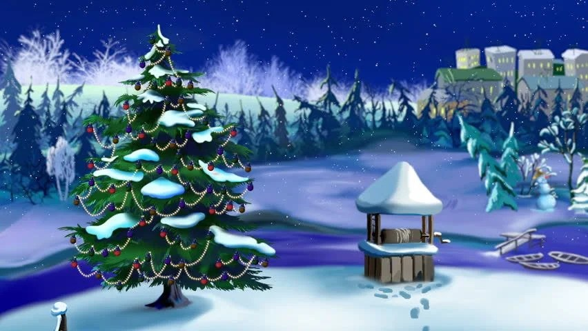 Live Winter Snow Fall Background Wallpaper Santa With His Sleigh And 8 Reindeer Christmas Mixed