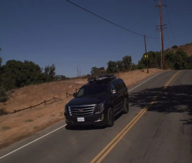 Day Moving Pov Shot Down Black Cadillac That Traveling Along Two Lane Mountain Road There Some