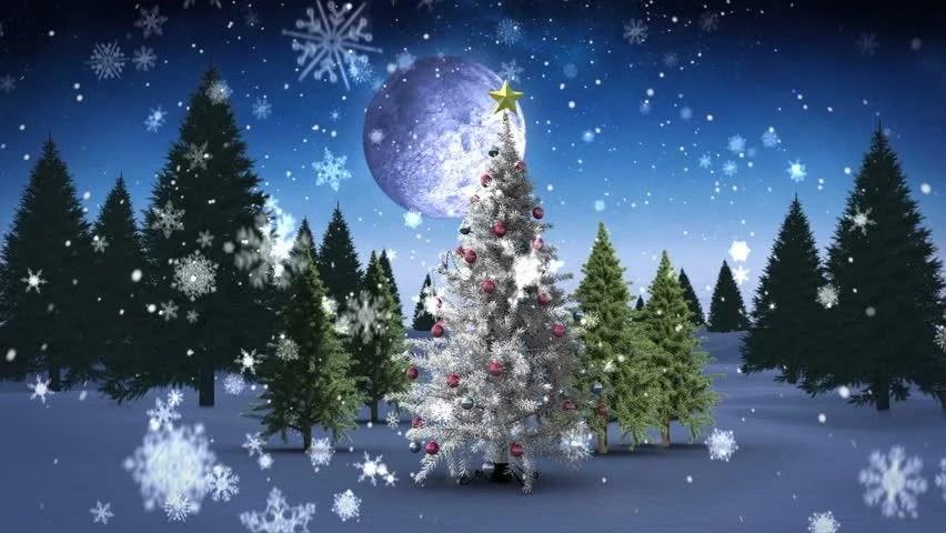 Santa With Reindeer Lights Up Christmas Tree Christmas