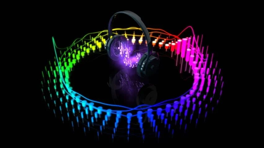 3d Animated Gif Wallpapers Headphones Playing Music And Equalizer Stock Footage Video