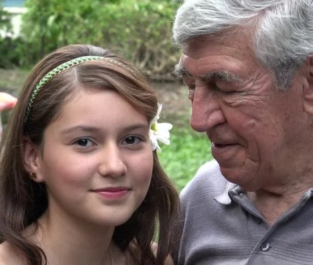 Happy Teen Girl And Grandfather