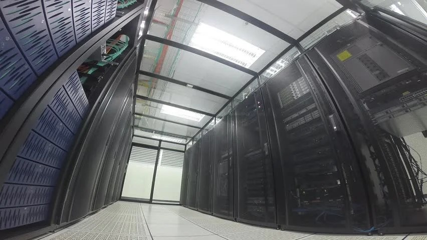 Fisheye View Modern Interior Of Server Room Super Computer Server Room Datacenter Data