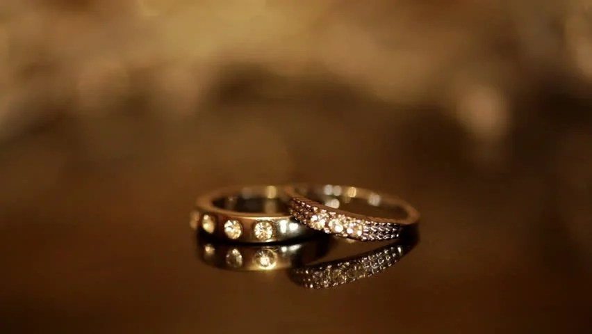 Wedding Rings And Diamonds Beautiful Background With Changing Depth Of Field Seamless Looped