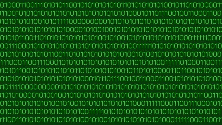 Green Binary Digital Code Computer Generated Seamless