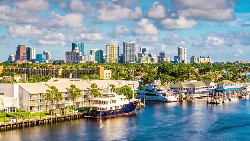 Fort Lauderdale Florida Usa Skyline Stock Footage Video