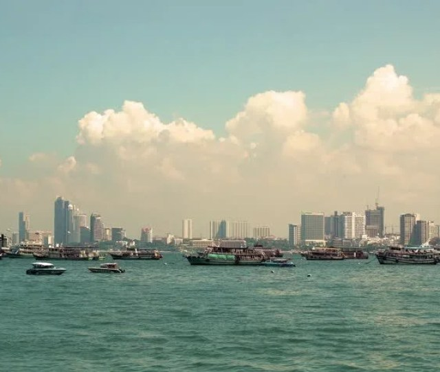 Panorama Of Pattaya Thailand View Of The Beach And Palaces With Boats On The